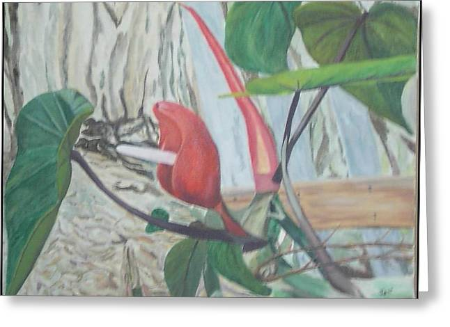 Greeting Card featuring the painting Red Flowering Vine by Hilda and Jose Garrancho