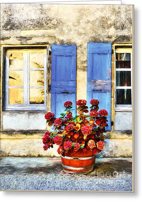 Red Flowers And Blue Shutters Greeting Card