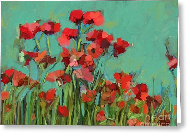 Red Flowers Greeting Card by Carrie Joy Byrnes