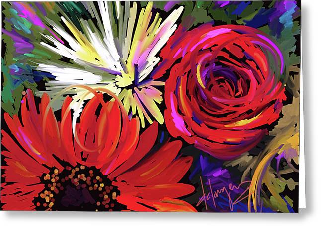 Greeting Card featuring the painting Red Flowers by DC Langer