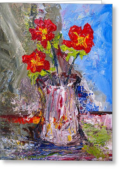 Red Flowers Greeting Card by Donald  Erickson