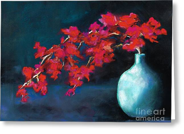 Red Flowers Greeting Card by Frances Marino