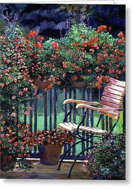 Red Flowers Garden Chair Greeting Card