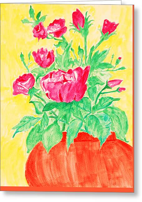 Red Flowers In A Brown Vase Greeting Card