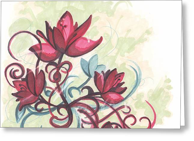 Red Flowers Greeting Card by Krista Payne
