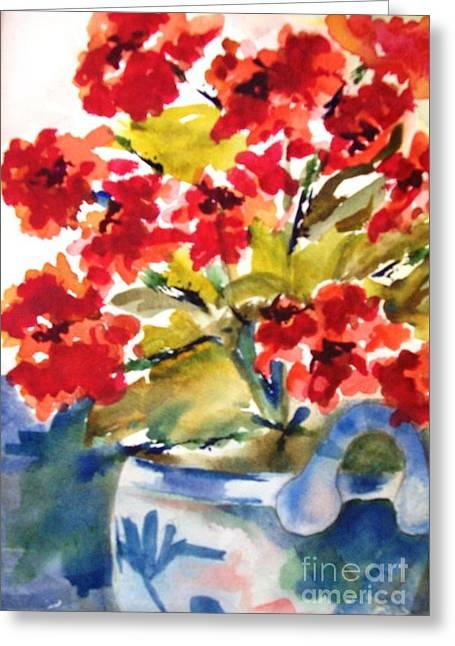 Red Flowers Greeting Card by Sandi Stonebraker