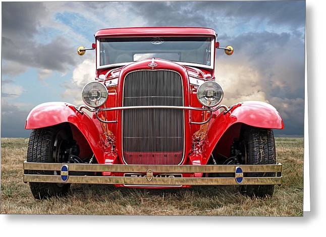 Red Ford Coupe Head On Greeting Card