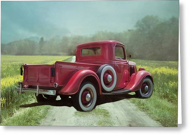 Greeting Card featuring the photograph Red Ford Pick-up by Robin-Lee Vieira