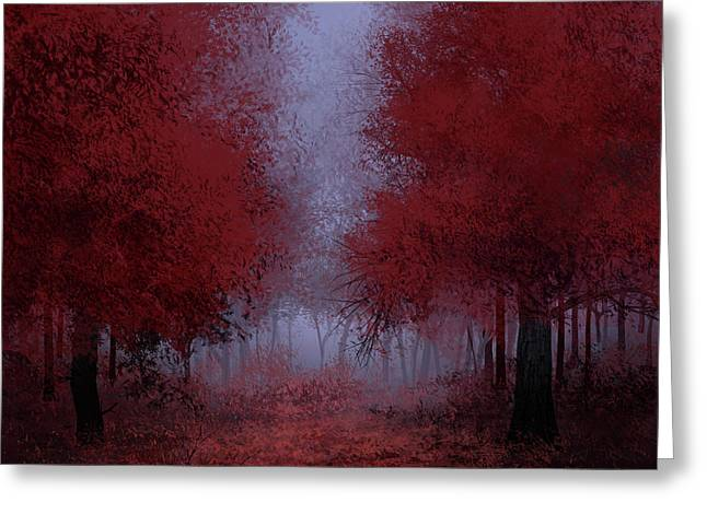 Red Forest Greeting Card