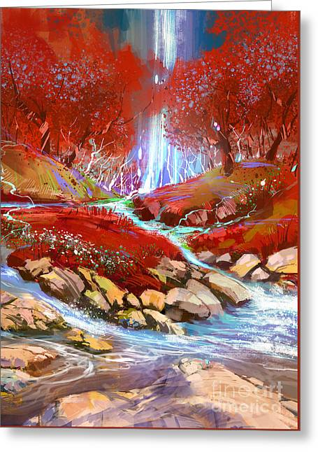 Greeting Card featuring the painting Red Forest by Tithi Luadthong