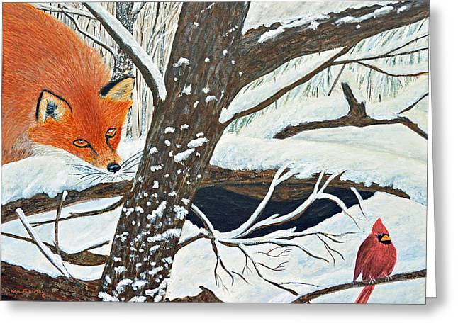 Red Fox And Cardinal Greeting Card