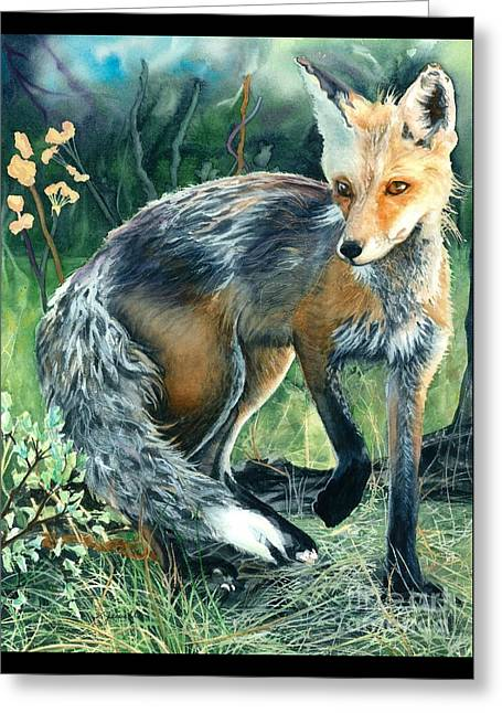 Greeting Card featuring the painting Red Fox- Caught In The Moment by Barbara Jewell