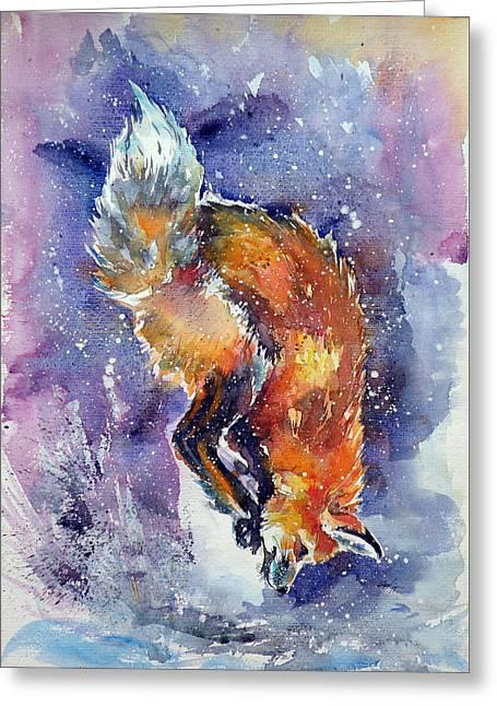 Red Fox Hunting Greeting Card by Kovacs Anna Brigitta
