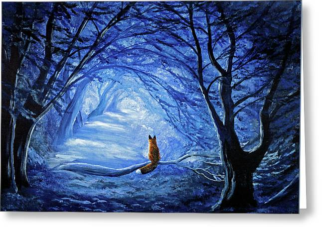 Red Fox In Blue Cypress Grove Greeting Card by Laura Iverson