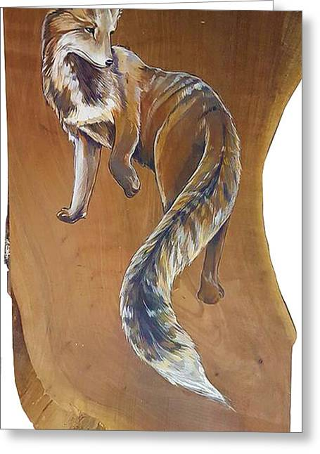 Red Fox On Cherry Slab Greeting Card by Jacque Hudson