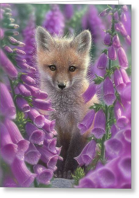 Red Fox Pup - Foxgloves Greeting Card