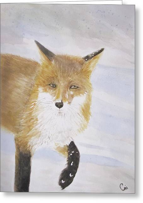 Red Fox Walk Greeting Card by Annie Poitras
