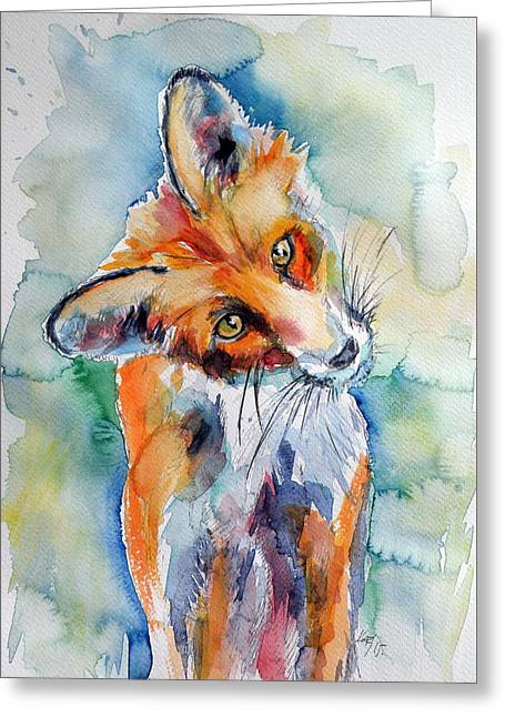 Red Fox Watching Greeting Card