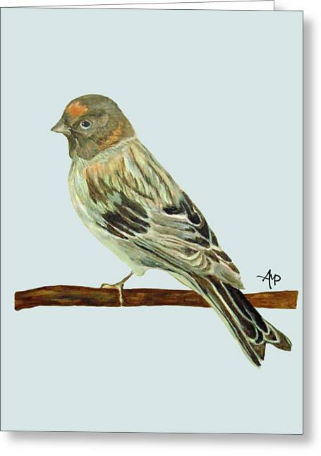 Greeting Card featuring the painting Red-fronted Serin by Angeles M Pomata