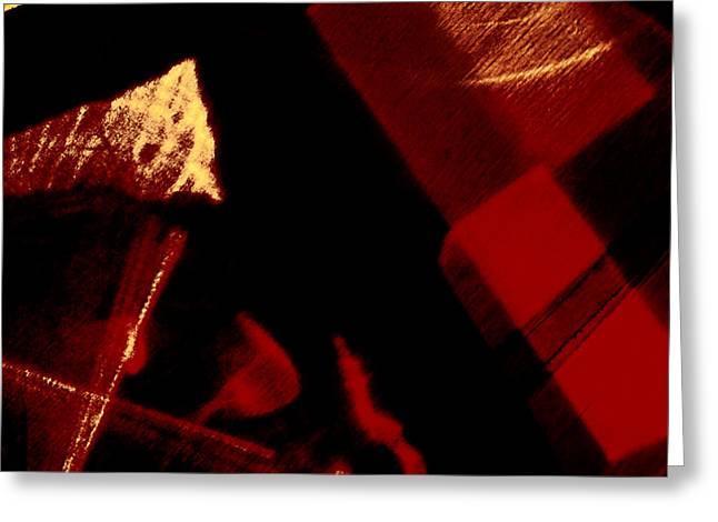 Red Geometric Abstraction Greeting Card by Elena Lir-Rachkovskaya