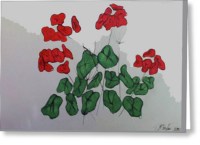 Red Geranium Greeting Card