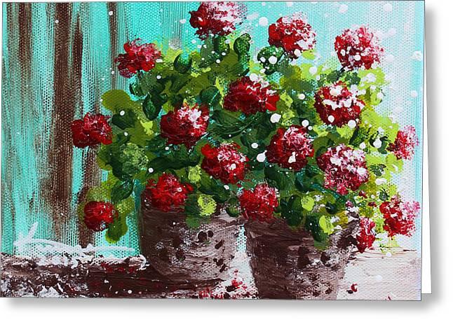 Red Geranium Flowers Greeting Card