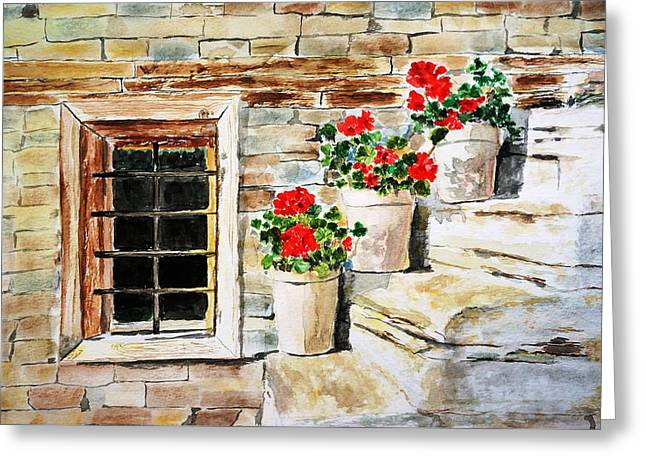 Red Geranium Outside Window Greeting Card