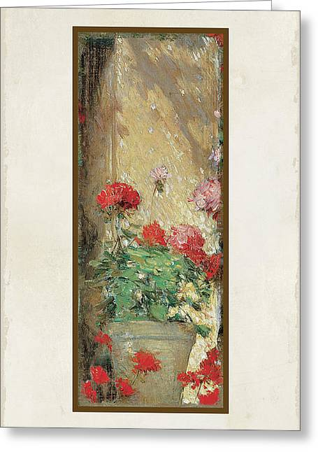 Red Geranium Pots Greeting Card by Audrey Jeanne Roberts