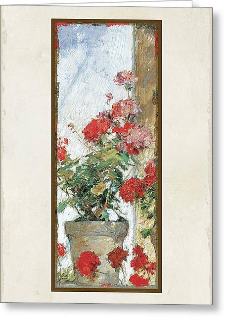 Red Geraniums Against A Sunny Wall Greeting Card