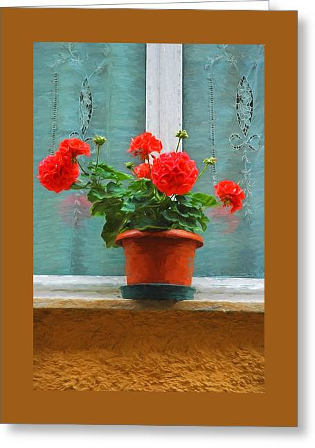 Red Geraniums Greeting Card by Allen Beatty