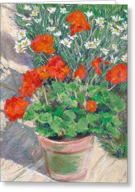 Red Geraniums Greeting Card by Judy Adamson