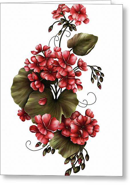 Red Geraniums On White Greeting Card by Georgiana Romanovna