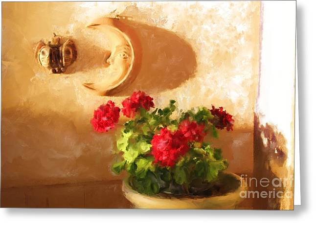 Red Geraniums Greeting Card by Robin  Waters