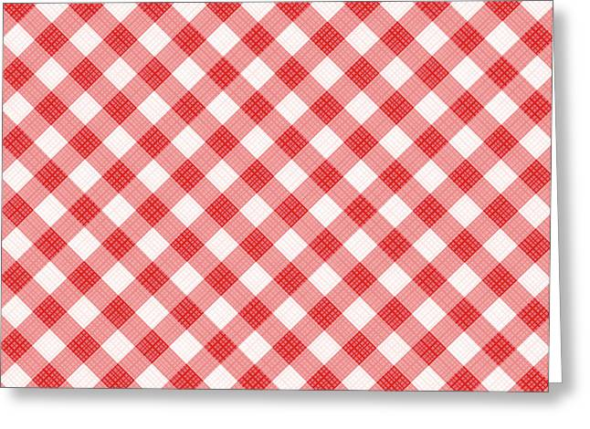 Red Gingham Fabric Cloth Greeting Card by Natalia Ratselmeister