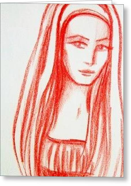 Greeting Card featuring the drawing Red Girl Sketch by Danielle R T Haney
