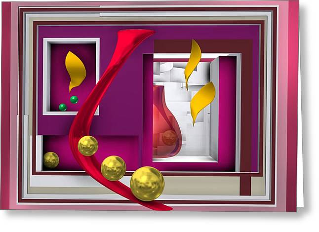 Red Glass In The Room With White Light Greeting Card