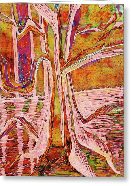 Red-gold Autumn Glow River Tree Greeting Card