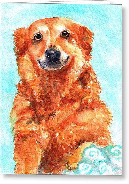 Greeting Card featuring the painting Red Golden Retriever Smile by Carlin Blahnik CarlinArtWatercolor