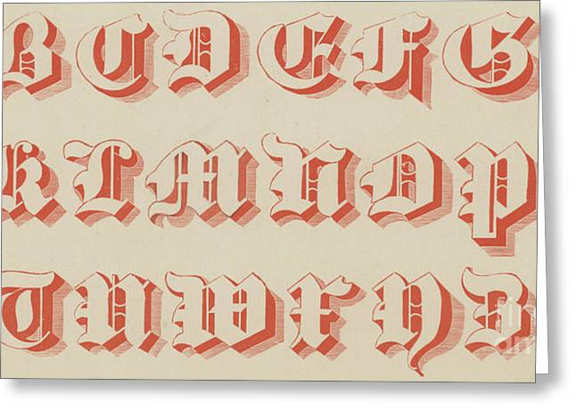 Red Gothic Font Greeting Card by English School