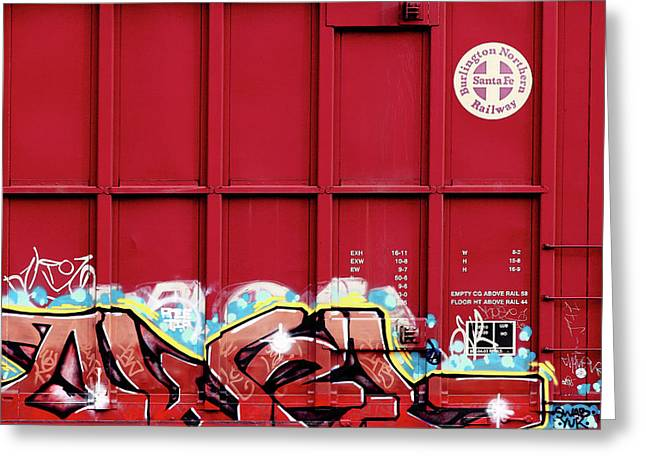 Red Graffiti Greeting Card by Todd Klassy
