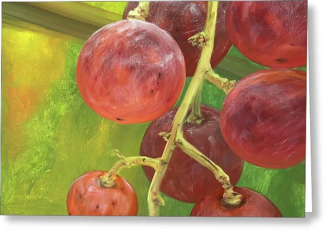 Red Grape Greeting Card by Natalia Mikhaylina