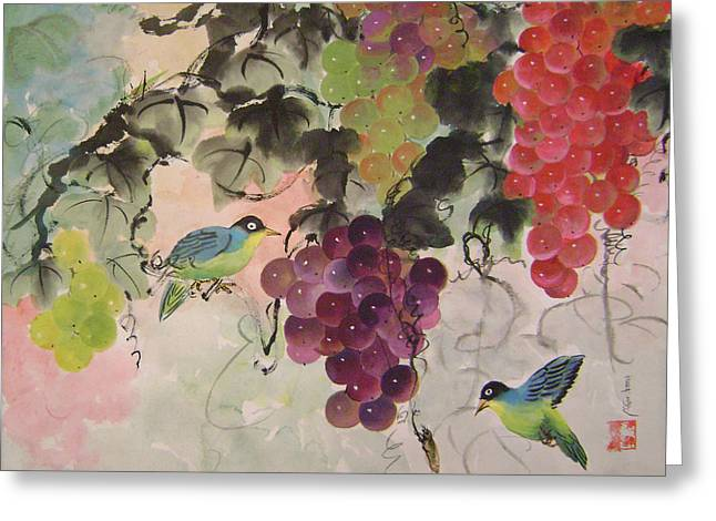 Red Grapes And Blue Birds Greeting Card by Lian Zhen
