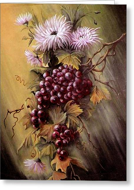 Red Grapes And Flowers Greeting Card