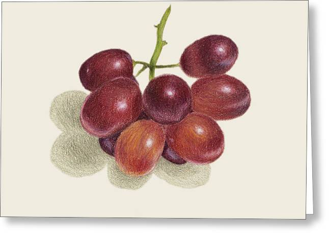 Red Grapes Greeting Card by Carlee Lingerfelt