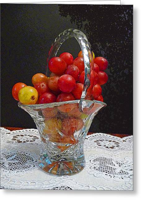 Greeting Card featuring the photograph Red Grapes In Crystal And Lace by Margie Avellino