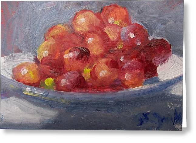 Red Grapes Greeting Card by Susan Jenkins