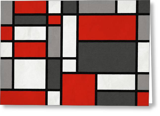 Red Grey Black Mondrian Inspired Greeting Card by Michael Tompsett
