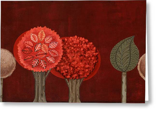 Red Grove Greeting Card by Graciela Bello