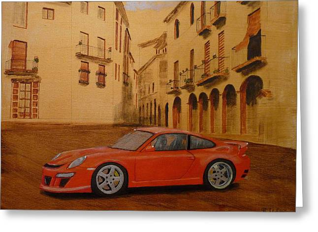 Red Gt3 Porsche Greeting Card