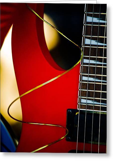 Fretboard Greeting Cards - Red Guitar Greeting Card by Hakon Soreide